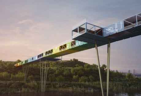Econtainer Bridge by Yoav Messer Architects 03 e1359986754859 World's First Shipping Container Bridge Over Tel Aviv's Trash Mountain