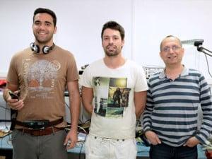 Koby Kohai with students Tzahi Simkin and Gal Dalal.