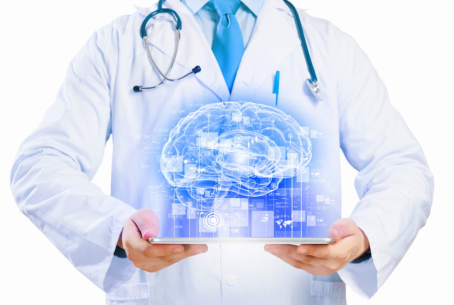 Close up of doctor's body holding tablet pc with media illustration via bigstock