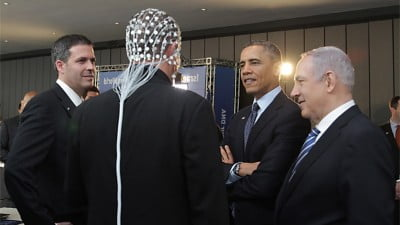 Prime minister Benjamin Netanyahu and Barack Obama Observing ElMindA Helmet