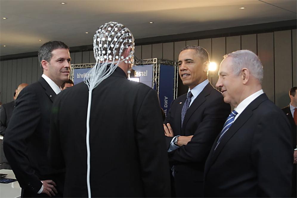 Prime minister Benjamin Netanyahu and Barack Obama Observing ElMindA Helmet