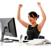 Successful business woman with arms up - isolated over a white b
