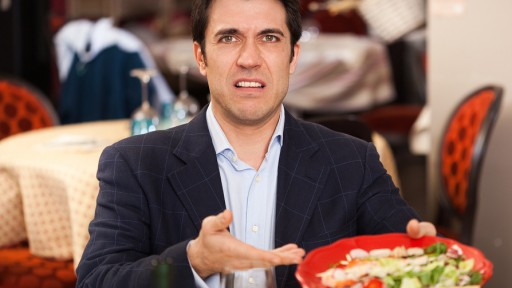 Man complaining for the bad food