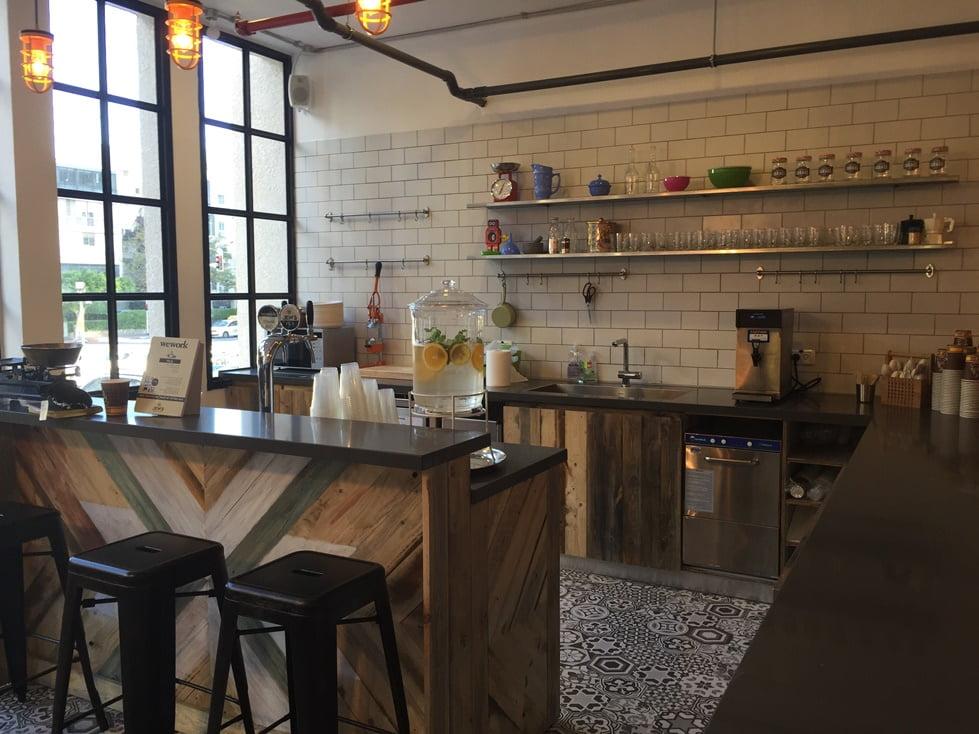 Shared kitchen at WeWork Tel Aviv. Courtesy