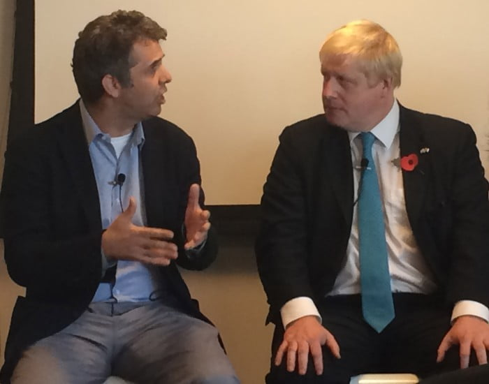 "Google Israel CEO Meir Brand and London Mayor Boris Johnson discussing the ""partnership between the two most innovative societies on earth."""