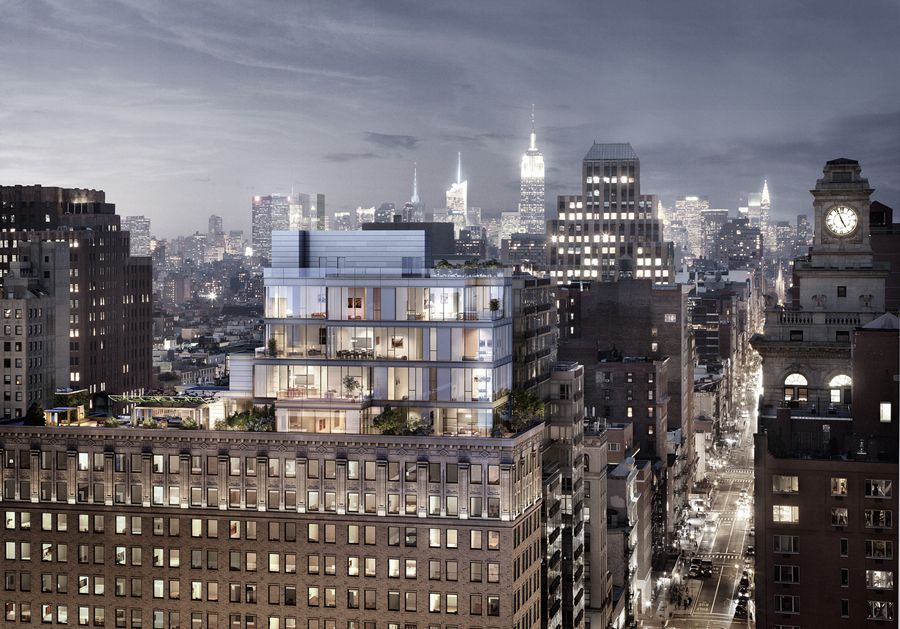 ODA's planned addition to the roof of 93 Worth Street in Tribeca, Manhattan. Courtesy