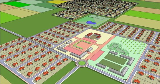 A rendering of an Ethiopian neighborhood planned by AlefBet. Courtesy