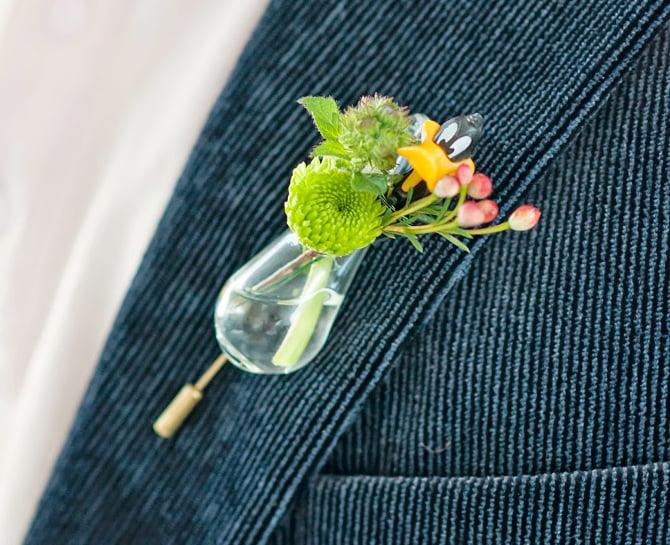 boutonnière, lapel vase, flower, bride and groom