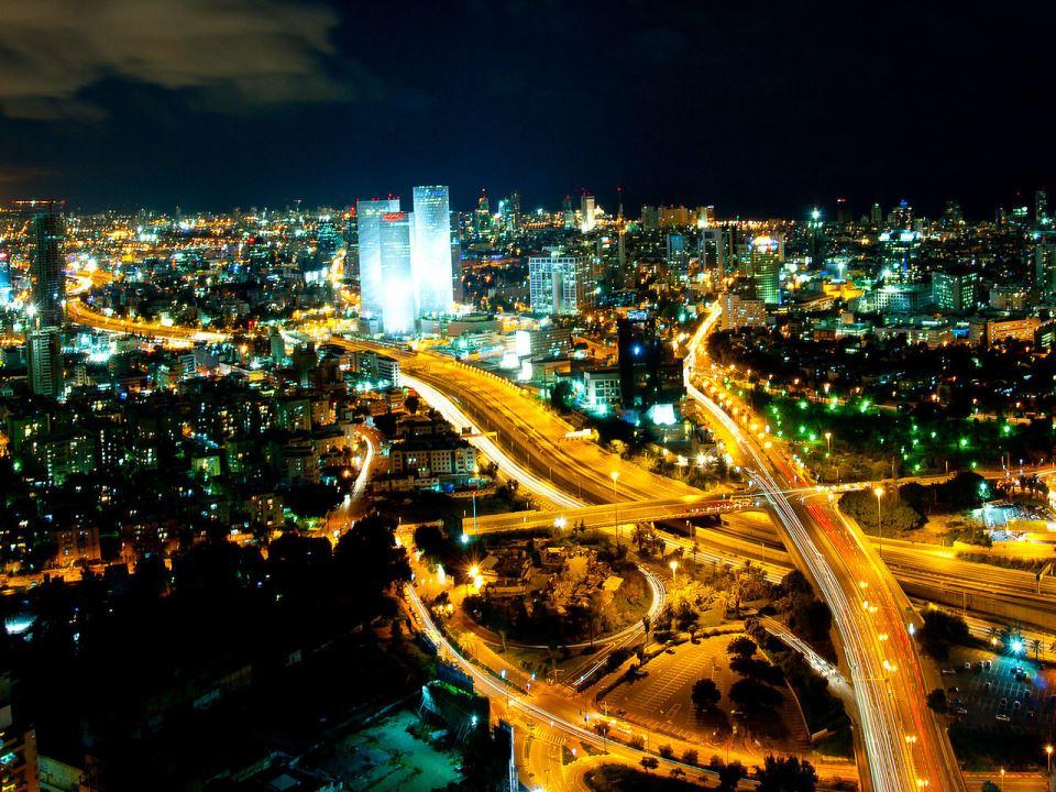 Tel Aviv Skyline Night via Gilad Avidan/WikiCommons