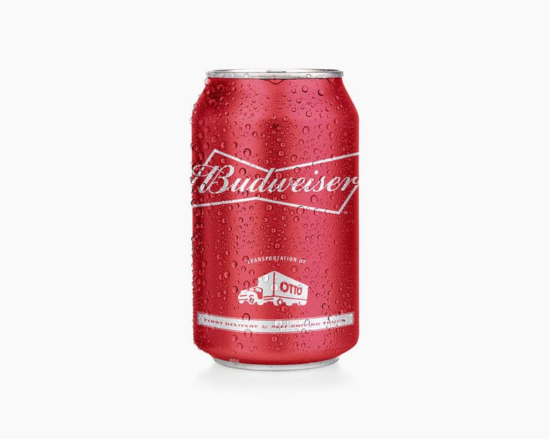 Otto, beer, Budweiser, beer can, driverless truck. Courtesy