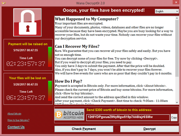 WannaCry ransom-ware screenshot