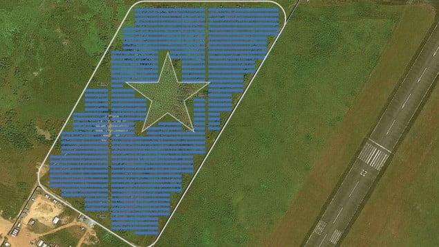 A mockup of the proposed Energiya Global 10 megawatt solar field near Roberts International Airport in Monrovia, Liberia. The field includes a star in honor of the Liberian flag. Courtesy of Energiya Global