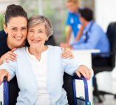 elderly woman with female caretaker