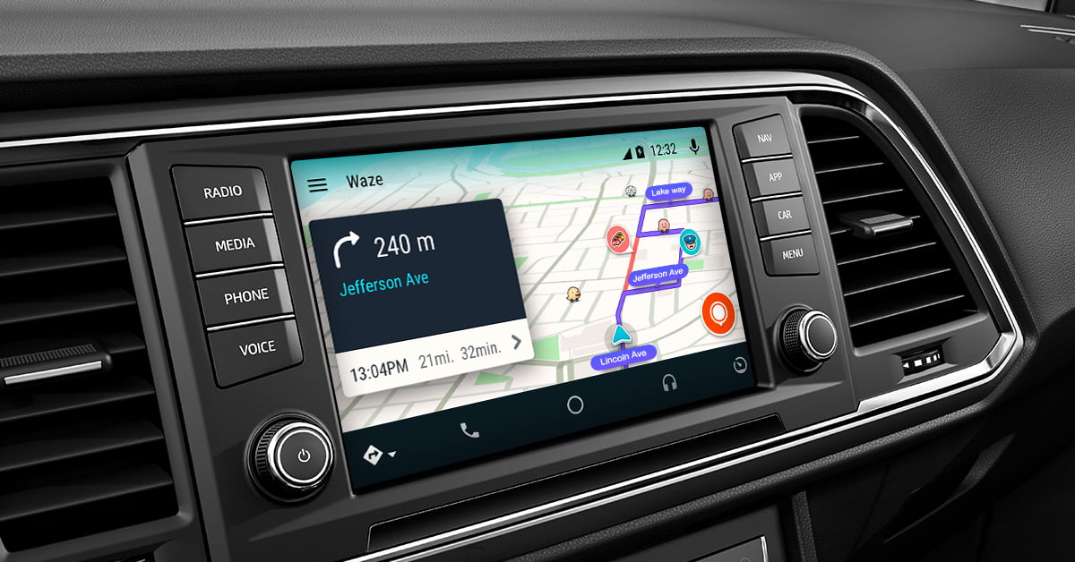 Waze built into a car, navigation - courtesy https://blog.waze.com/2017/07/Waze-for-Android-Auto.html