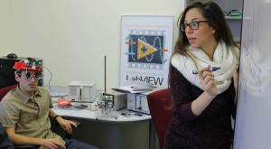 Technion's Dr. Oz Levinkron (left) wears the eyelid device developed by researcher Adi Hanuka (right) and team. Courtesy