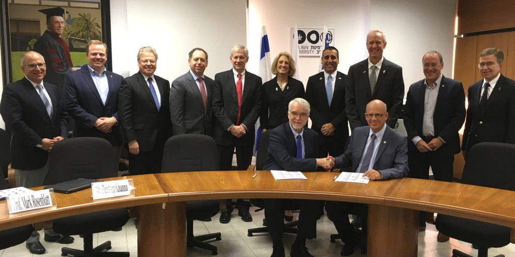 Illinois Governor Bruce Rauner and members of his trade mission sign a research partnership agreement with Tel Aviv University on October 30, 2017. Credit Bruce Rauner on Twitter