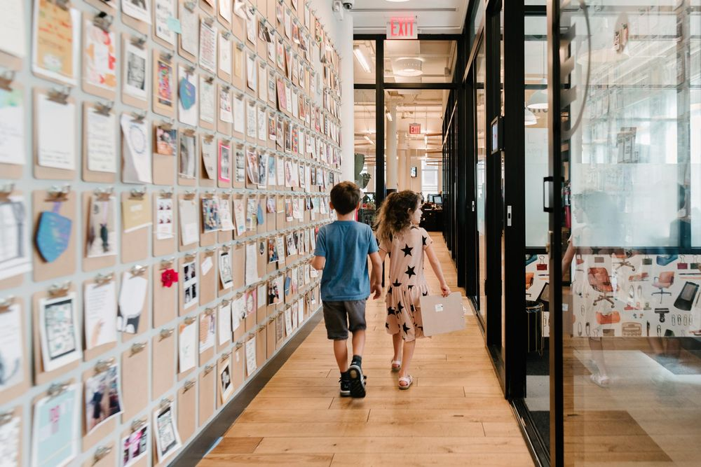 Students of the school pilot program at WeWork headquarters in New York City. Photographer: Katelyn Perry/WeWork