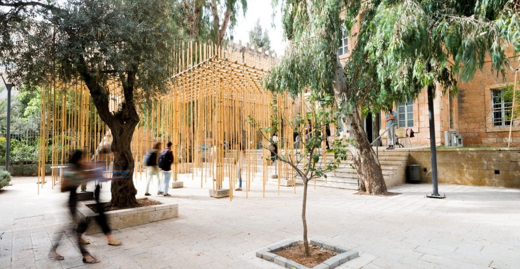 Bamboo Pavilion at the Bezalel Academy of Arts and Design. Photo by Yifat Zailer