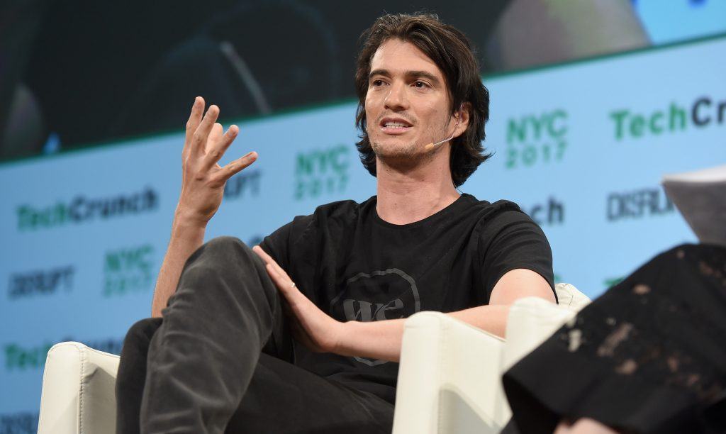 Co-founder and CEO of WeWork Adam Neumann onstage during TechCrunch Disrupt NY 2017 at Pier 36 on May 15, 2017 in New York City. Photo by Noam Galai/Getty Images for TechCrunch via Flickr