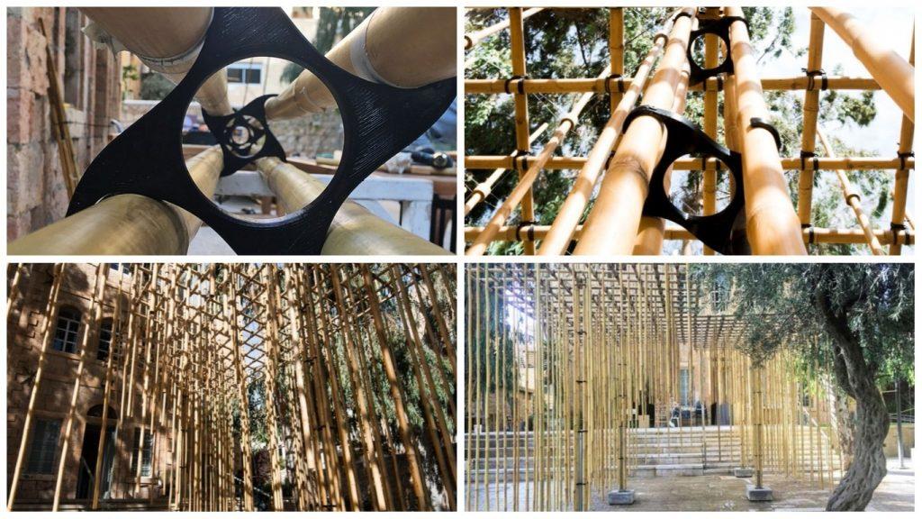 Bamboo structure at Bezalel. Photos by Barak Pelman and Yifat Zailer