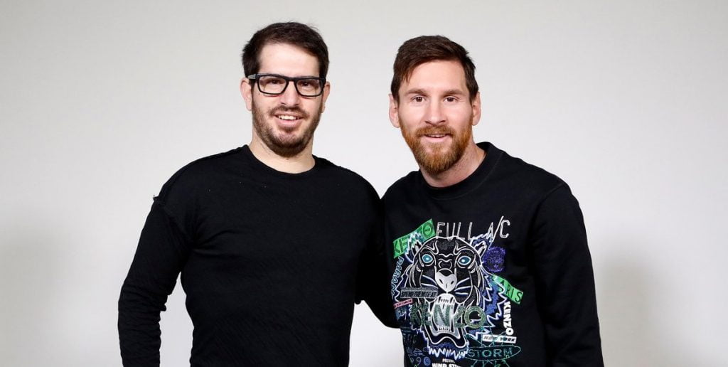 Sirin Labs co-founder and CEO Moshe Hogeg, left, with Barcelona's Lionel Messi, in a photo posted to Twitter on December 7, 2017 to announce that Messi was the company's new brand ambassador.