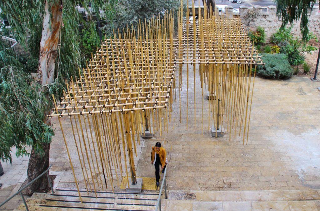 Bamboo Pavilion at the Bezalel Academy of Arts and Design. Photo by Barak Pelman