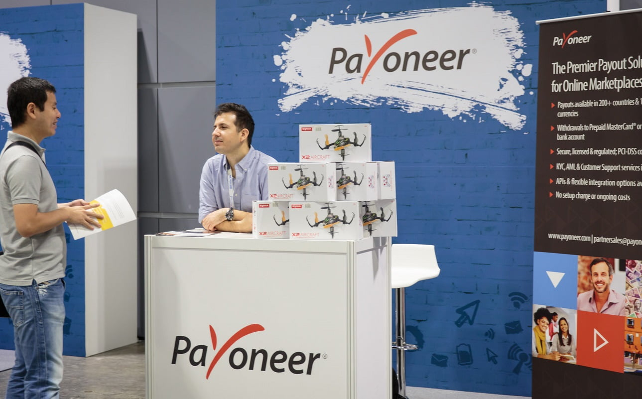 A Payoneer booth at the Tech in Asia conference in Singapore in 2015. Photo via Tech in Asia on Flickr
