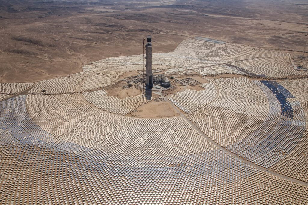 An aerial shot of the Megalim Solar Power plant. Photo by Albatross photo agency