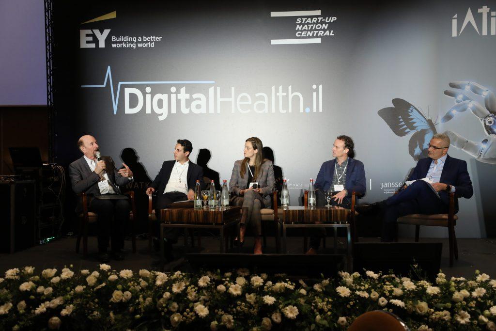 From left to right: John Mattison, David Suter, Shelly Hod Moyal, John Bass, and panel moderator Eyal Ben-Yaakov discuss Blockchain. Photo by Shauli Landner