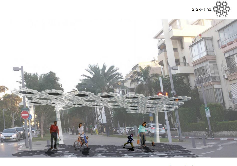 The BreezAviv structure has the ability to shoot water out of its vents. Courtesy