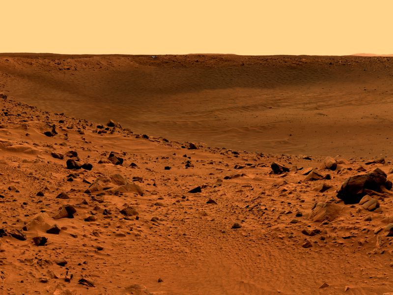 Will the D-Mars project be able to simulate the surface of Mars, a thick layer of oxidized iron dust and rocks of the same color? Creative Commons
