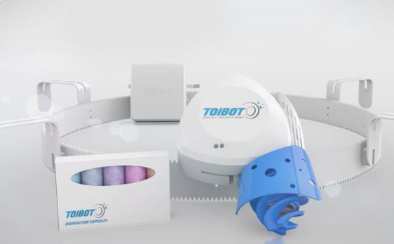 Place the Toibot ring into your toilet bowl and with the press of a button, it will automatically clean, disinfect, and polish your toilet. Courtesy.