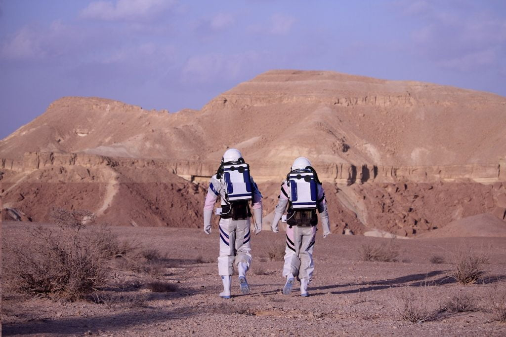 Israeli scientists in Mizpe Ramon's D-Mars habitat. Courtesy