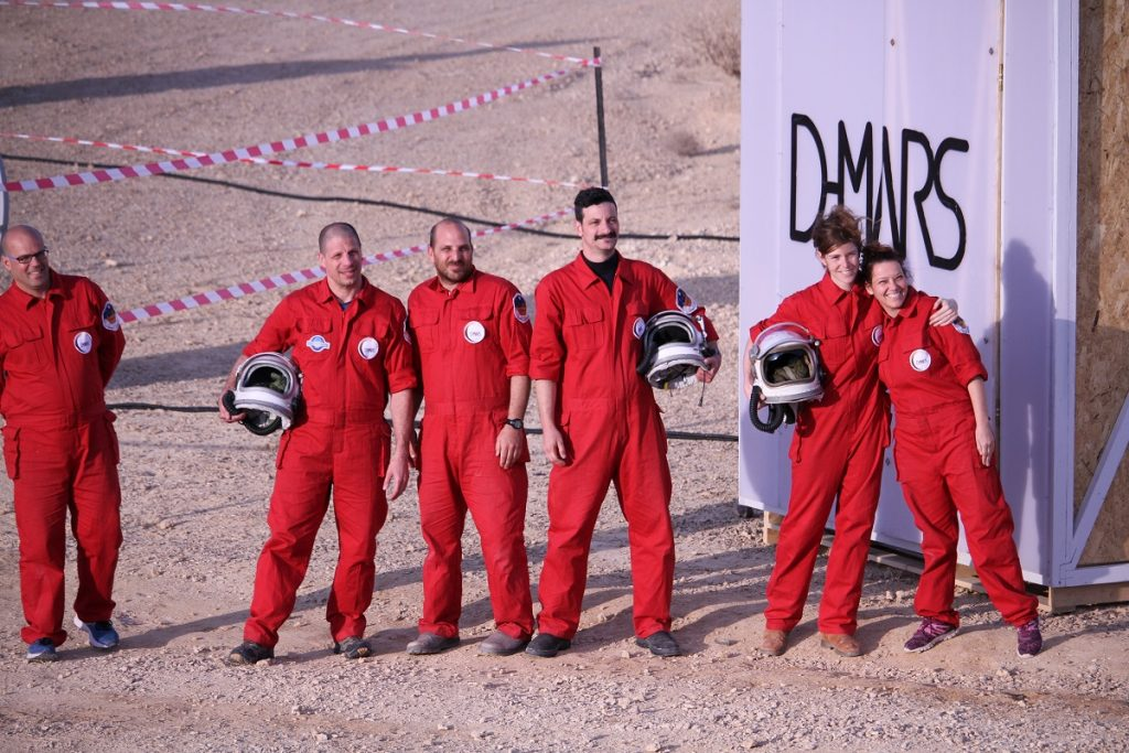 Israeli scientists and researchers emerge from D-Mars. Courtesy