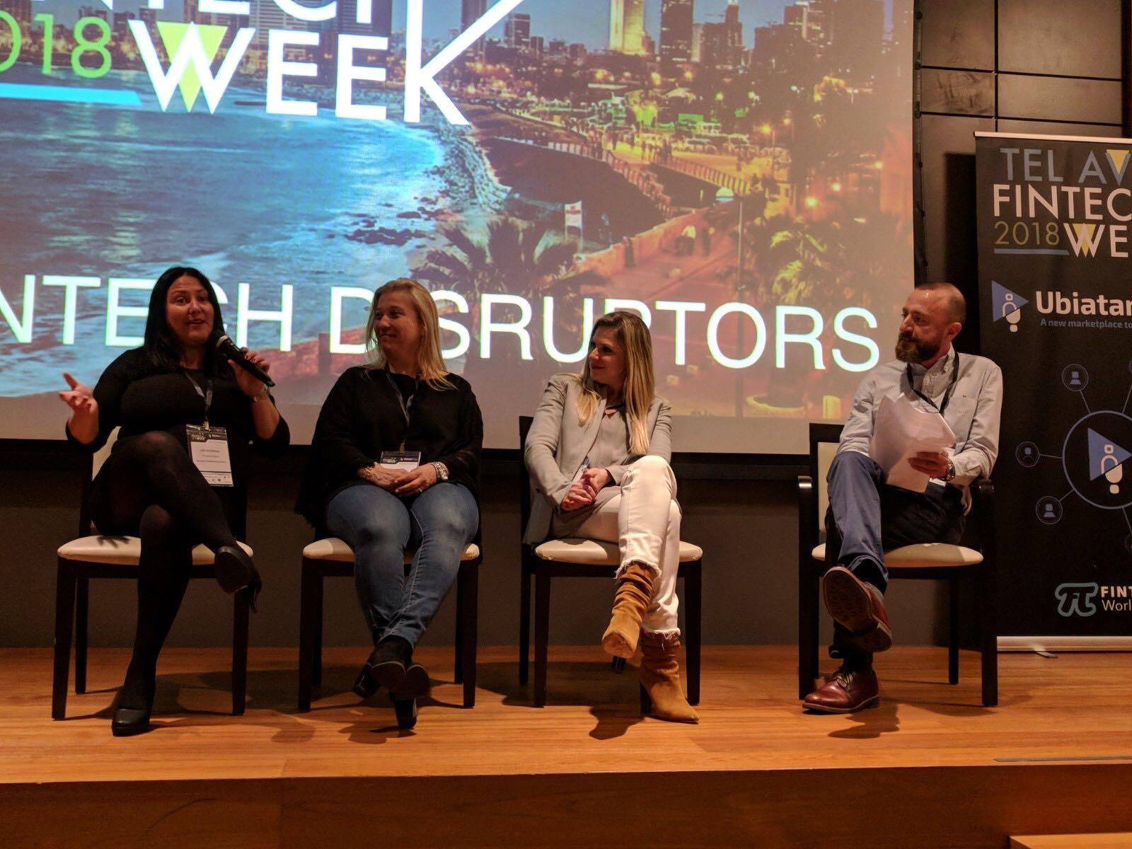 "Left to right: Techstars' Hila Ovil Brenner, Citi Ventures' Ornit Shahar and Qumra Capital's Sivan Dahan on the ""Following The Money..."" panel during FinTech Week Tel Aviv 2018. Courtesy"