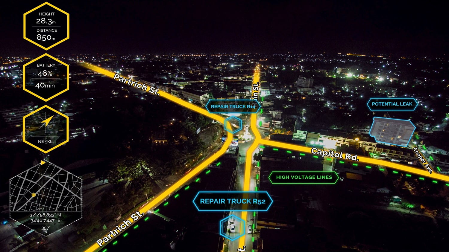 An example of what Edgybees software looks like laid over the image of a city street at night. Courtesy