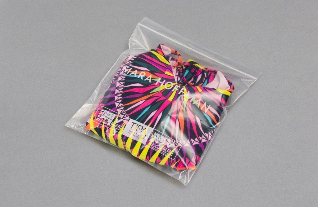 TIPA's packaging for designer Mara Hoffman. Courtesy