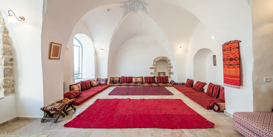 A look at the Womb Room, where workshops and Shabbat services are held in The Way Inn hotel. Courtesy