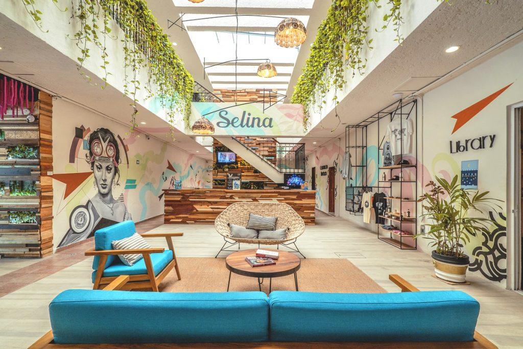 A Selina lobby in Cancun, Mexico. Courtesy