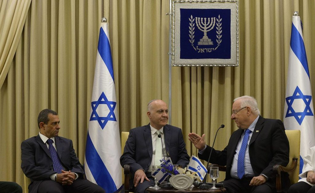 Israeli President Reuven Rivlin, right, with the then-outgoing ISA director Yoram Cohen, center, and Nadav Argaman, in May 2016. Photo by Amos Ben Gershon, Spokesperson unit of the President of Israel, Wikimedia, CC BY-SA 3.0
