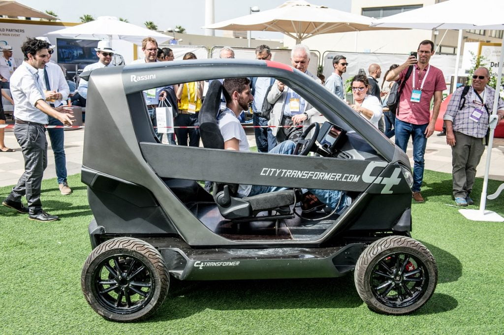 A demo vehicle by City Transformer, which seeks to change how we use transportation in urban areas. Photo by Asaf Kliger
