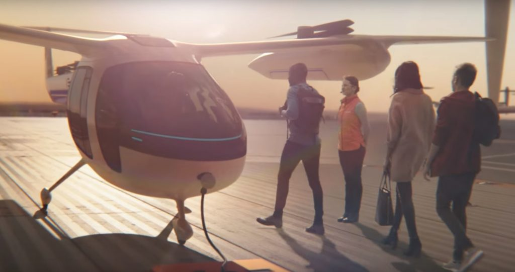 A screenshot from an Uber ad showing the possibilities for future urban air travel.