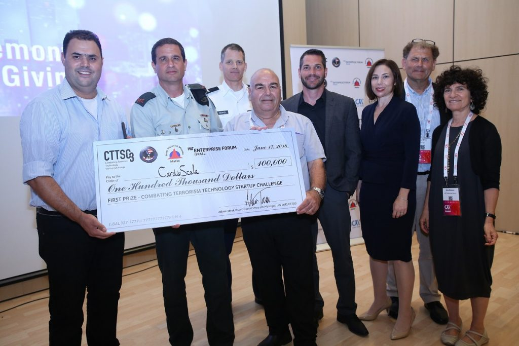 CardioScale wins the top spot at the 2018 Combating Terrorism Technology Startup Challenge in Tel Aviv. Photo by Dror Sithakol