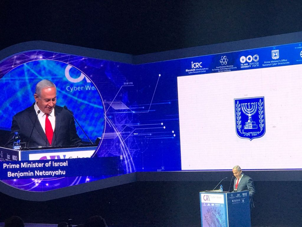 Prime Minister Benjamin Netanyahu speaking at Cyber Week, June 20, 2018. Photo via Cyber Week on Twitter.