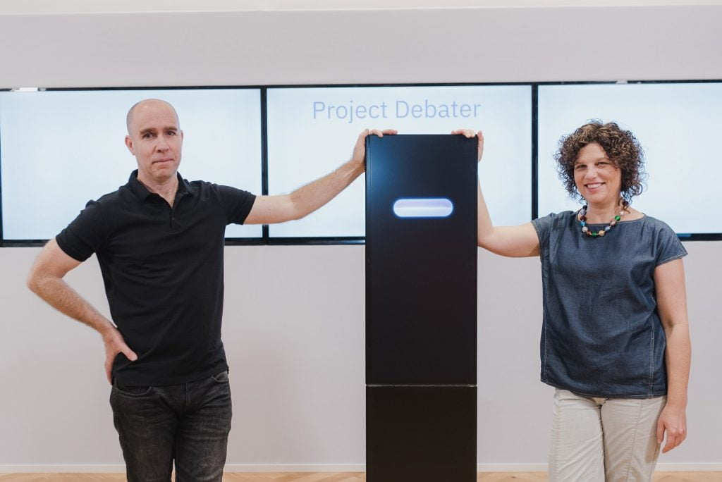Noam Slonim, left, and Dr. Ranit Aharonov, right, from IBM's research lab in Haifa. Photo by Or Kaplan