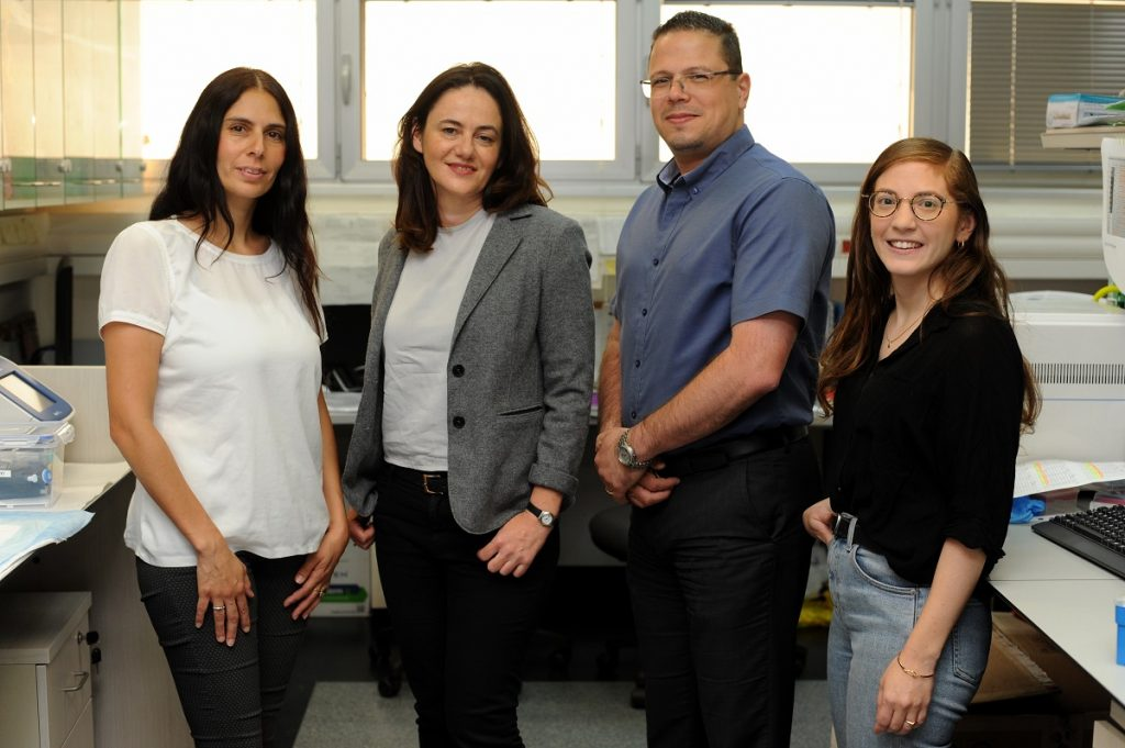 Group photo (L-R): Dr. Hilla Azulay-Debby, Prof. Rolls, Prof. Hakim and Maya Schiller. Photo by Rami Shlush, Technion Spokesperson's office