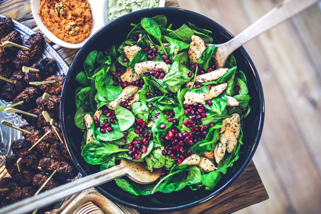 A pomegranate and chicken salad. Photo via Pexels
