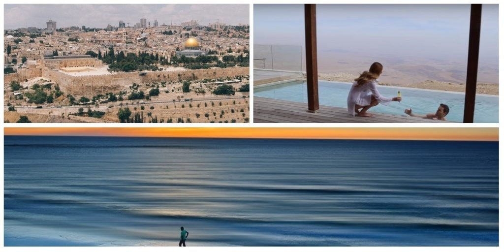 In the top left is a photo of Jerusalem as seen from the Mount of Olives. On the right is a screenshot from the a video showing the Beresheet hotel On the bottom is a photo of a Tel Aviv beach. Photos via Unsplash