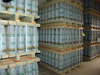 Pallets of 155 mm artillery shells containing 'HD' (distilled sulfur mustard agent) in a chemical weapons storage facility in Colorado. Photo via the US government on Wikimedia