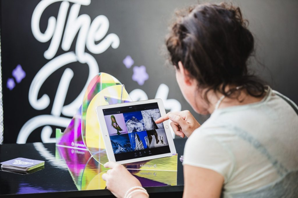 A participant at last year's OFFF TLV looks at tech from Lightricks, an Israeli app developer known for its award-winning Facetune photo editing app. Courtesy